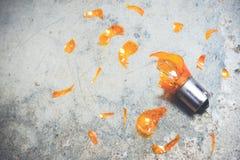 损坏的电灯泡和玻璃碎片 免版税图库摄影