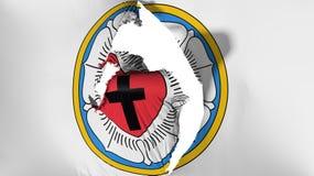 损坏的路德教会罗斯旗子 皇族释放例证