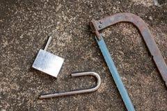 损坏锁用手看见了 打开解决的重音问题 库存照片