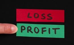 损失和利润文本构想 图库摄影