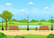 换下场与树和灯笼在公园 向量例证
