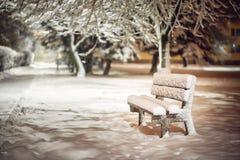 换下场与雪在暴风雪以后或在雪灾难在欧洲,冬天夜photograhy在城市 免版税库存图片