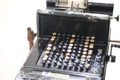 换下场的钢四四方方的方形的守旧派打字机 免版税库存图片