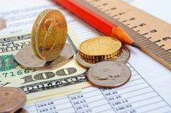 捣对美元和欧元,跨比率 免版税库存图片