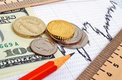 捣对美元和欧元,跨比率 库存照片
