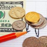 捣对美元和欧元,跨比率 库存图片