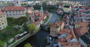 捷克克鲁姆洛夫、捷克克鲁姆洛夫鸟瞰图和城堡塔 影视素材