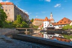 捷克克鲁姆洛夫在与大厦反射的晴天在河 免版税库存图片