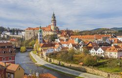 捷克克鲁姆洛夫的历史中心 免版税库存图片