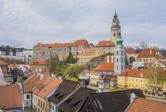 捷克克鲁姆洛夫的历史中心 库存照片