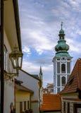 捷克克鲁姆洛夫的历史的中心,美好的都市风景 联合国科教文组织世界遗产名录 cesky捷克krumlov中世纪老共和国城镇视图 欧洲 免版税库存图片
