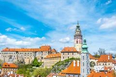 捷克克鲁姆洛夫,南波希米亚五颜六色的美丽如画的老镇  免版税库存照片