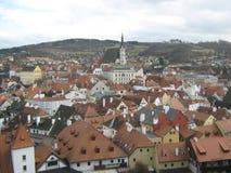 捷克克鲁姆洛夫,捷克,从回顾的站点的看法 免版税库存图片