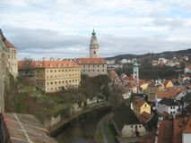 捷克克鲁姆洛夫,捷克,从回顾的站点的看法 库存照片