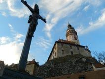 捷克克鲁姆洛夫城堡和大别墅 图库摄影