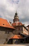捷克克鲁姆洛夫城堡塔 库存照片