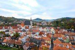 捷克克鲁姆洛夫城市风景,由联合国科教文组织的世界遗产 免版税库存图片