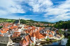捷克克鲁姆洛夫美丽的村庄在捷克 库存图片