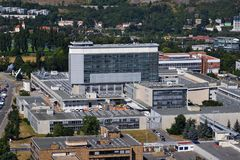 捷克公共电视台播报员Ceska电视播送修造在布拉格,捷克的总部 免版税图库摄影