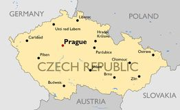 捷克共和国映射 库存图片