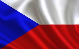 捷克共和国标志 世界的一系列的`旗子 `国家-捷克旗子 图库摄影