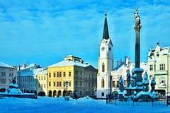 捷克共和国正方形在城市Trutnov在冬天 免版税图库摄影