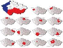 捷克共和国省地图 库存图片