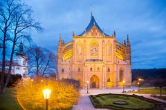 捷克共和国, Kutna Hora :2017年12月12日:哥特式圣Barbora大教堂,全国文化地标, Kutna Hora,捷克共和国, E 免版税库存照片