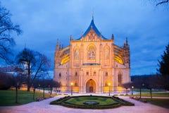 捷克共和国, Kutna Hora :2017年12月12日:哥特式圣Barbora大教堂,全国文化地标, Kutna Hora,捷克共和国 库存照片