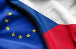 捷克和欧盟旗子  免版税库存图片