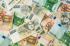 捷克和欧洲钞票背景 免版税图库摄影