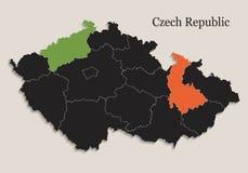 捷克地图黑色上色黑板分立的国家单独 免版税库存照片