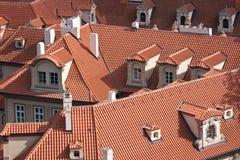 捷克布拉格红色共和国屋顶 库存照片