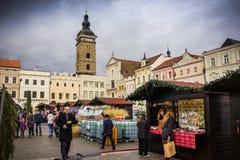 捷克布杰约维采, - 2017年11月, 28日:圣诞节市场 库存照片