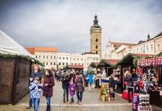 捷克布杰约维采, - 2017年11月, 28日:圣诞节市场 图库摄影