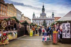 捷克布杰约维采, - 2017年11月, 28日:圣诞节市场 免版税库存图片