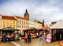 捷克布杰约维采, - 2017年11月, 28日:圣诞节市场 库存图片