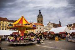 捷克布杰约维采, - 2017年11月, 28日:圣诞节市场 免版税库存照片