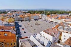 2015-07-04 - 捷克布杰约维采市,捷克共和国- Namesti Premysla Otakara II 正方形在捷克布杰约维采(Budweis) 库存照片