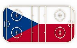 捷克旗子构造的冰球领域 相对世界竞争 图库摄影
