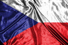 捷克标志 在背景的旗子 免版税库存照片