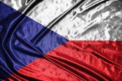 捷克标志 在背景的旗子 图库摄影