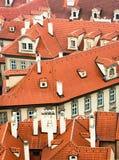 捷克橙色布拉格屋顶 图库摄影