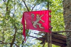 捷克王国中世纪标志横幅旗子狮子 免版税图库摄影