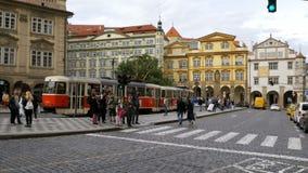 捷克电车乘驾通过捷克,布拉格的耶路撒冷旧城 影视素材