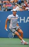 从捷克的职业网球球员托马斯・贝尔迪赫在美国公开赛2014圆的3比赛期间 免版税库存照片