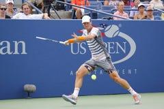 从捷克的职业网球球员托马斯・贝尔迪赫在美国公开赛2014圆的3比赛期间 库存照片