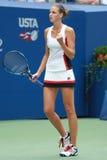 捷克的职业网球球员Karolina Pliskova在她圆的四比赛以后庆祝胜利在美国公开赛2016年 免版税库存照片