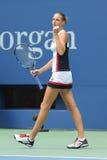 捷克的职业网球球员Karolina Pliskova在她圆的四比赛以后庆祝胜利在美国公开赛2016年 免版税库存图片