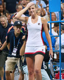 捷克的职业网球球员Karolina Pliskova在她的半决赛以后庆祝胜利在美国公开赛2016年 库存图片